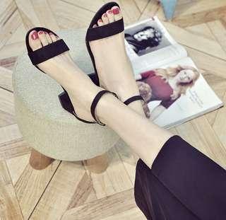 Black block heel ankle strap