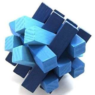 KINGOU Blue Wooden Fifteen Oblique Sticks Puzzle Brain Teaser Puzzles