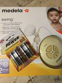 Medela Swing Electric Breast Pump baru 2x Pakai, Originally Purchased in Nov 2017 (FREE 4pcs Batteries!)