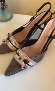 MIDAS Ladies Sling Back Heels Size 38.5 Leather Pointy Toe Embellished