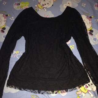 Black knitted lace top