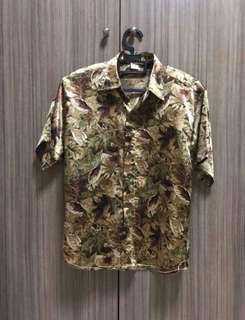 Leaf Design Silk Shirt