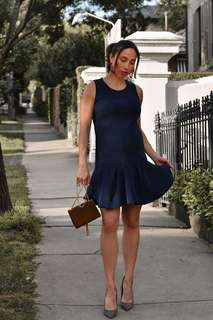 Soon Maternity cocktail evening wedding party dress navy xs