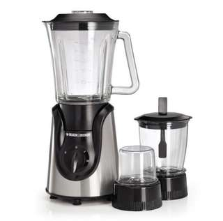 Black & Decker 600W Glass Blender with with Grinder and Mincer Chopper - White and Black