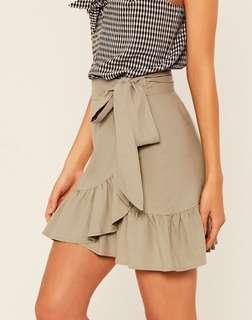 Glassons Linen Blend Frill Wrap Skirt - Light Khaki