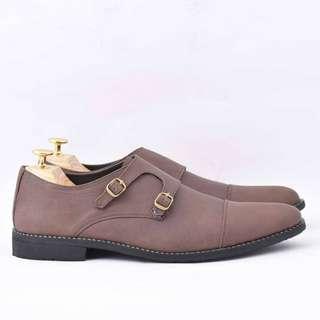 Sepatu pantofel monkstrap pria kulit sapi asli azcost