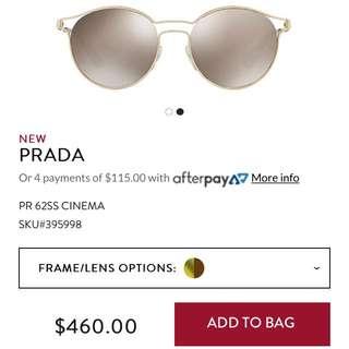 Prada designer sunglasses PR 62SS GOLD