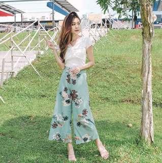 (PO) Flouncy Florentia Floral Printed Culottes Pants