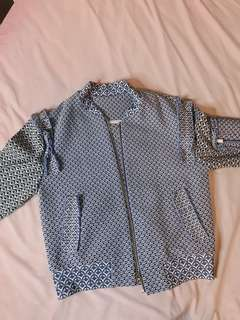 Blue and grey Pattern raffle jacket with multiple pockets