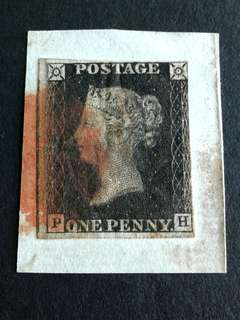 GB 1840 Penny black stamps