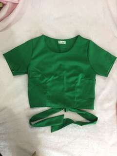 Green back bow cropped top