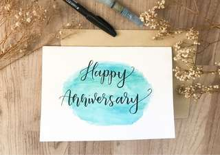 Watercolor calligraphy card