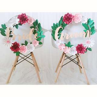 Wedding decoration - Bride & Groom Paper flowers wreath for rent