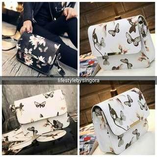 Ladies Sling Handbag Flower & Butterfly