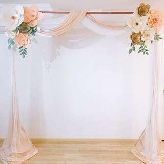 Paper flowers backdrop rental