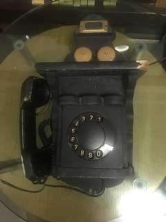 Very old wooden telephone set