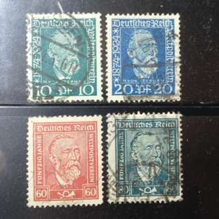 [lapyip1230] 德意志帝國 1924年 萬國郵聯 UPU 五十年紀念全套 Set VFU