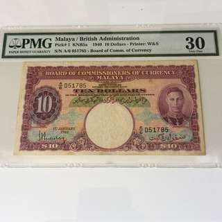 Malaya 1940 $10 King George banknote