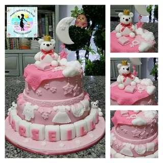 Heavenly Bear Baptismal Cake