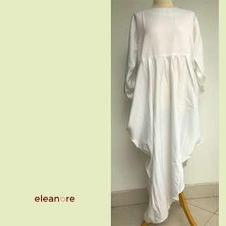 Dress edisi lebaran - lengan panjang mono color (Putih) - Eleanore