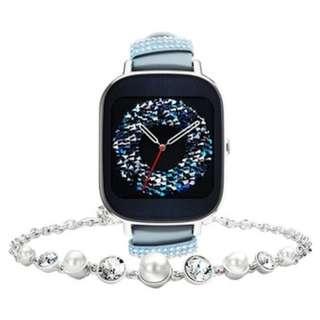 "ASUS ZenWatch 2 智能手錶(WI502Q) 1.45""真皮晶鑽藍 連Swarovski施華洛世奇水晶手鍊,可升級Android Wear 2.0"