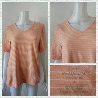 CJ Banks Orange Stripes Loose Tshirt