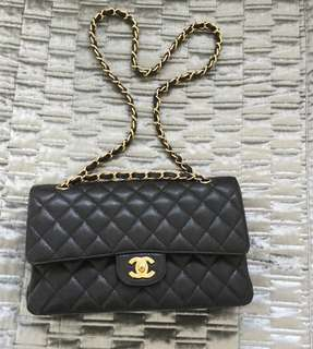 全新 Chanel Classic Flap CF 金 荔枝 Caviar