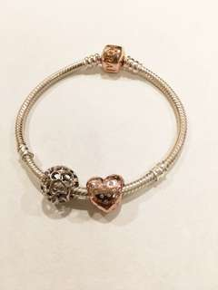 Authentic pandora bracelet and rose gold charms