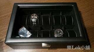 十隻裝鑽石紋有鎖高清玻璃錶盒