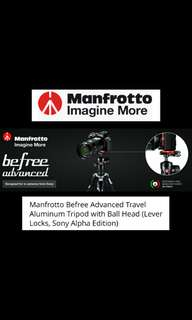 Manfrotto MKBFRLA-BH Befree Advanced Aluminium Tripod for Sony Alpha Edition