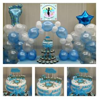 Baptismal Party Package (Fondant Cake & Cupcake Tower, 2 Balloon Pillars, and 1 Balloon Cake Arch)