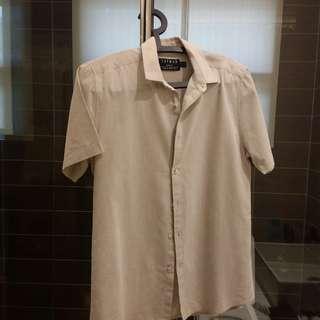Topman Cotton Linen Shirt off-white medium