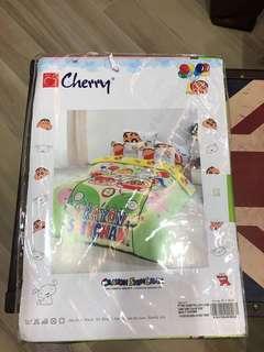全新 Cherry 卡通 蠟筆小新 床單連枕頭袋 双人 60吋寬