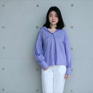 韓風香芋紫澎澎袖襯衫