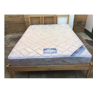 Excellent wooden double bed frame with Sleep Maker Brand mattress