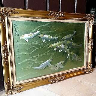 Chinese 9 Koi Art With Beautiful  Frame