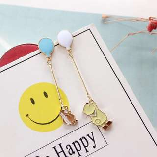 Korean design teddy bear balloon earrings