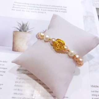 3D硬金玫瑰花+18K金珠襯天然珍珠手鏈