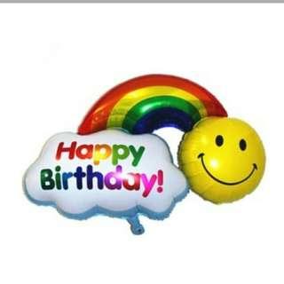 """Happy Birthday/Have a nice day foil ballon 18"""" rainbow foil ballon/smiley"""