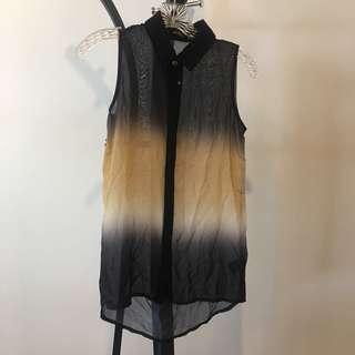 Miss Selfridge Petites sleeveless collared gradient top