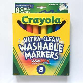 Crayola Ultra Clean Washable Broad Line Markers, 8 Classic Colors