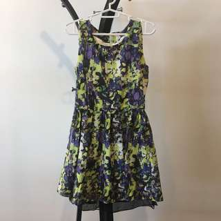 Green purple white abstract print sleeveless dress