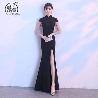 Black Cheongsam Slit Dress (Rent) Dinner Evening Gown Lace Chinese