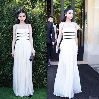 Christian Dior Inspired White Dress (Rent) Dinner Evening Gown Black Stripe Maxi
