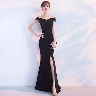 Black Off Shoulder Slit Dress (Rent) Long Dinner Evening Gown Sweetheart
