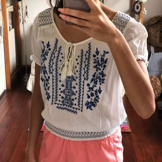American Eagle Outfitters Top Aztec Tropical Summer White