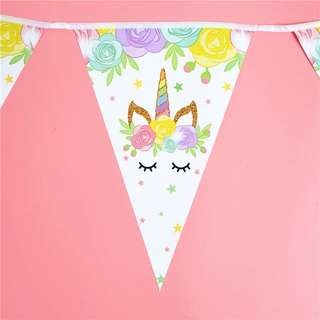 🦄 Unicorn Party Supplies - flag banner bunting / party deco