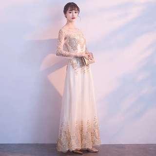 White Gold Sequin Gown (Rent) Wedding Evening Dinner Dress Bridal Long
