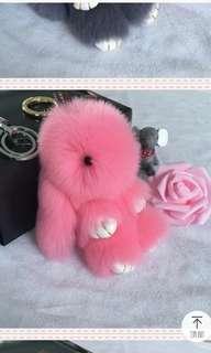 Pink rabbit keychain