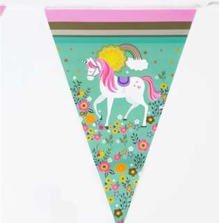 🦄 Unicorn theme party supplies - party banner bunting / party deco